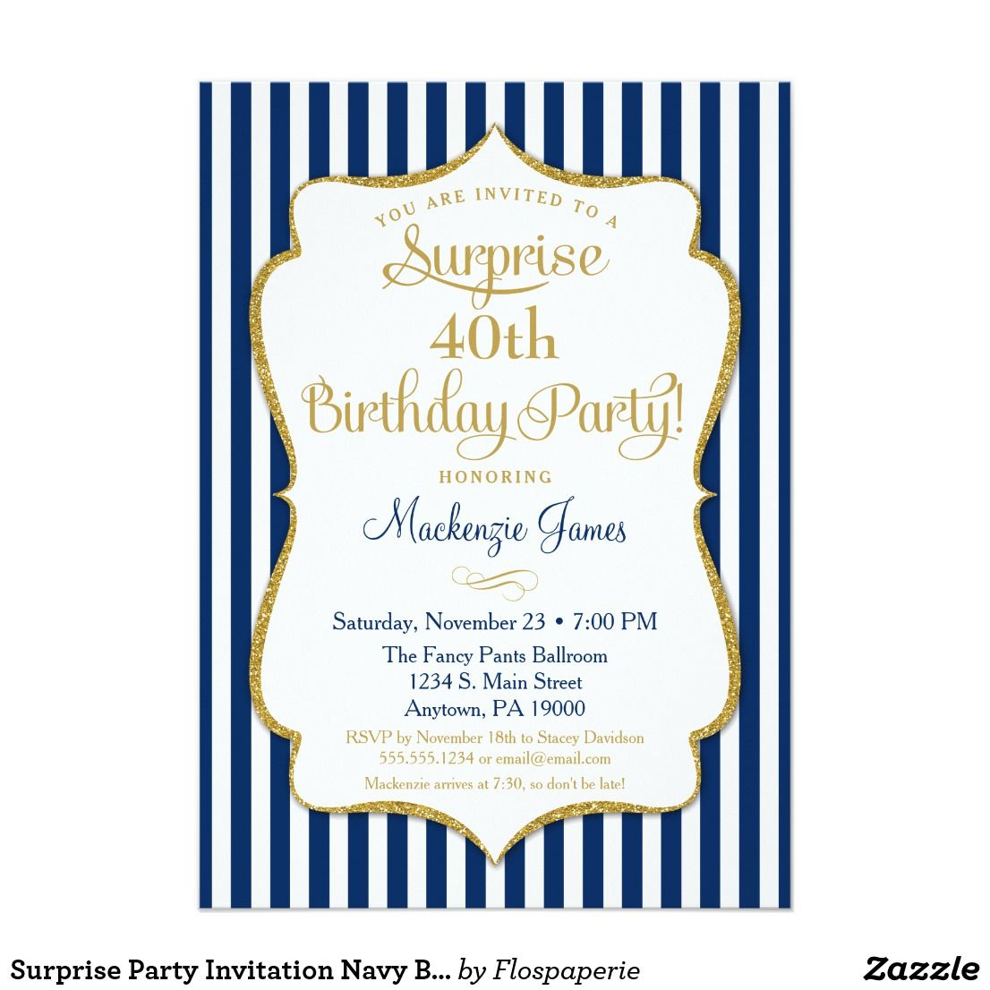 Surprise Party Invitation Navy Blue Gold Elegant | { Happy Birthday ...