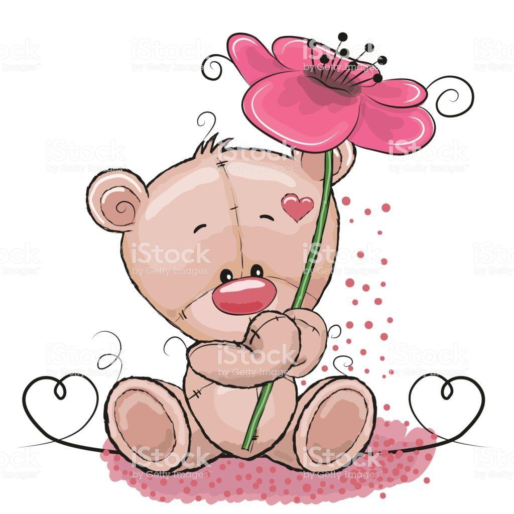 Greeting Card Cute Cartoon Bear With Flower Cartoon Clip Art Bear Cartoon Snoopy Dance