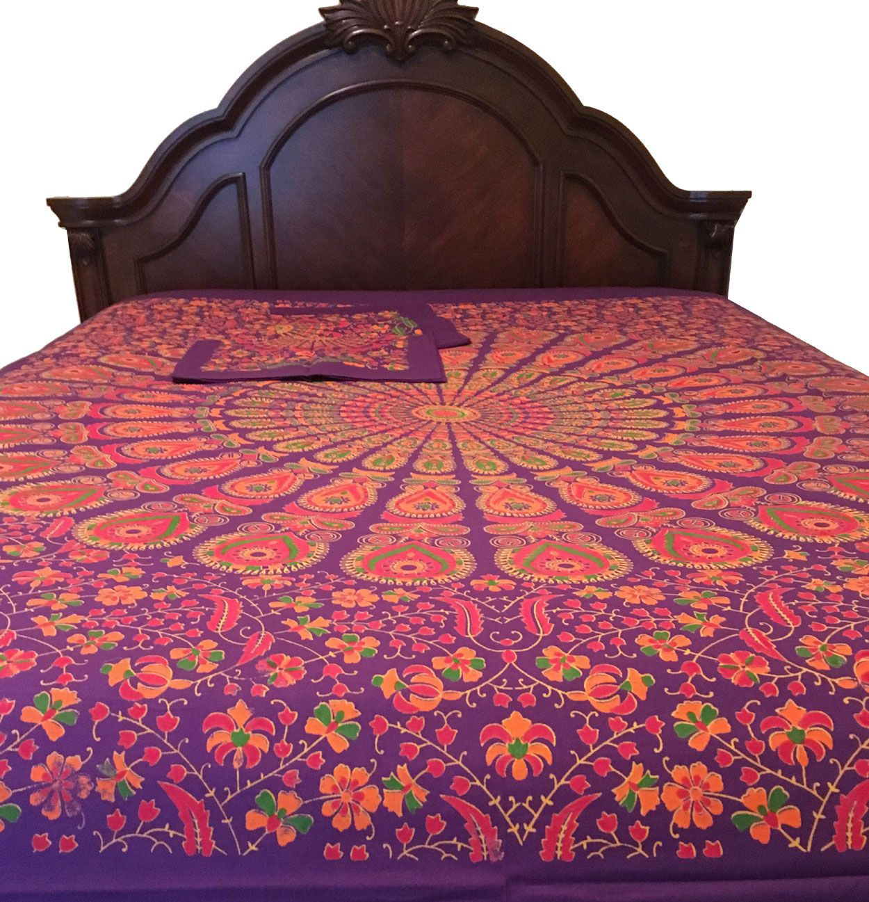 2480 cotton purple printed bed sheet set 2 pillow cases