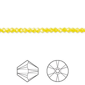 Bead, Swarovski crystals, yellow opal, 3mm Xilion bicone (5328). Sold per pkg of 48.