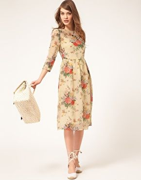 ab93ff0ae #Modest doesn't mean frumpy. www.ColleenHammond.com #fashion #style ASOS  Midi Dress With Rose Print