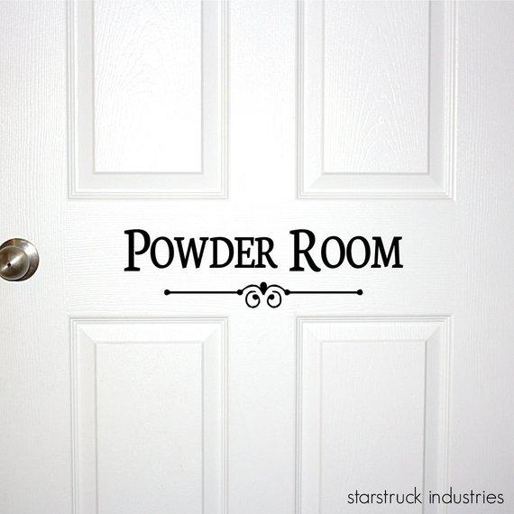 Powder Room Door or Wall Decal - Decorative Powder Room Sign