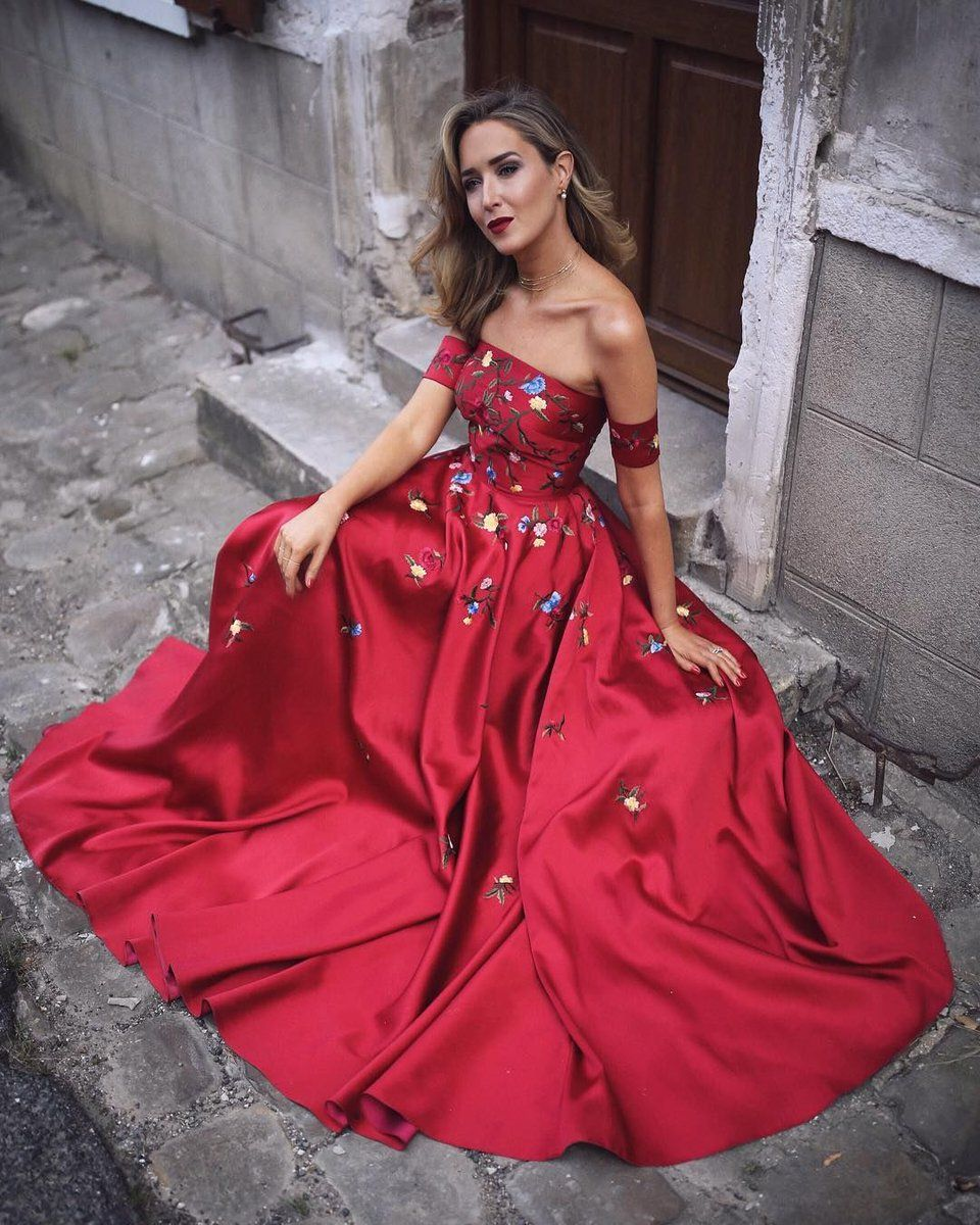Chic a line prom dress modest elegant cheap long red prom dress