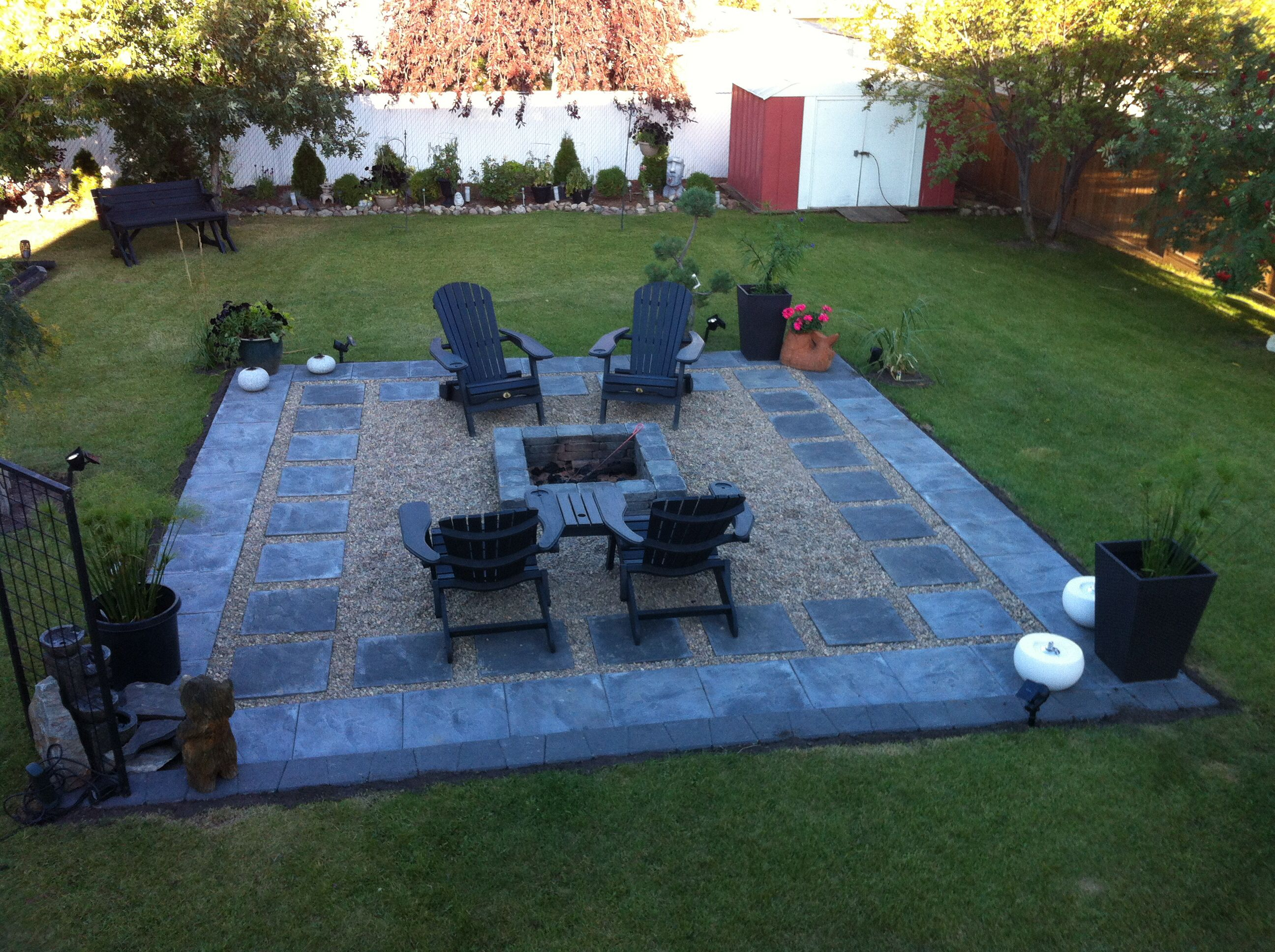 Charcoal Slate Patio Stones With Pea Stone Gravel. A Square Fire Pit To  Compliment The Patio Stones! Easy To Build As Long As You Have A Level  Backyard.