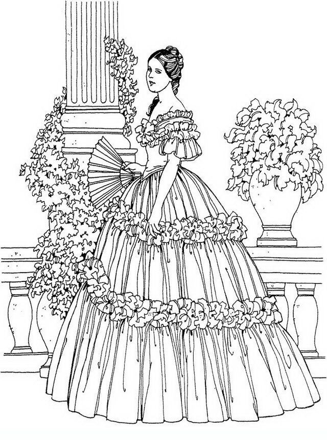 noblewomen05 Adult and teen coloring pages  Adults Color Too