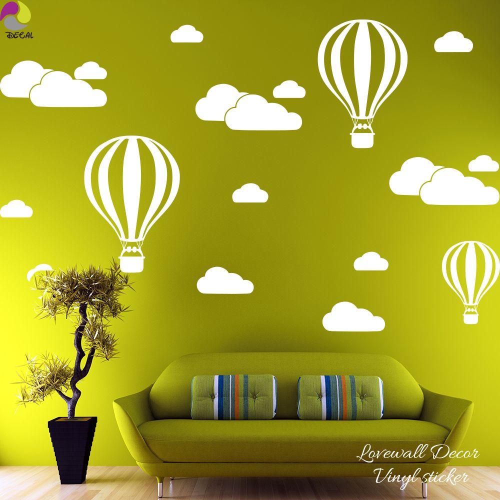 Cartoon Hot Air Balloons Cloud Wall Sticker Baby Nursery Kids Room ...