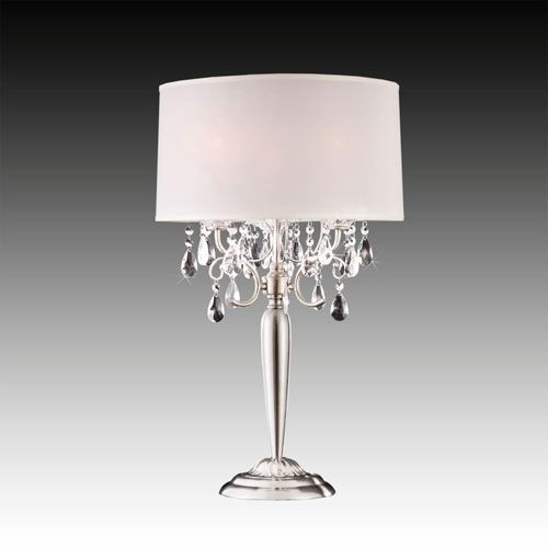 Chrome Crystal Beads Table Lamp Homehills Shaded Table Lamps Lamps