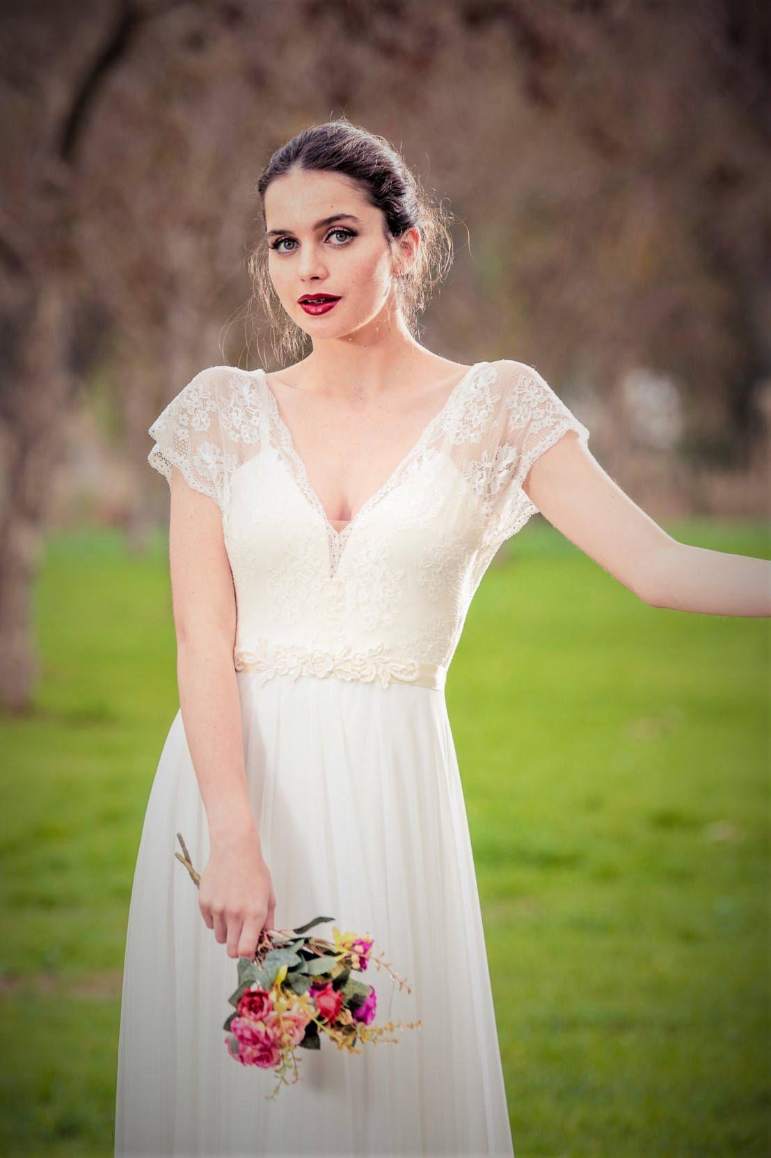Cori romantic wedding dress with lace top and chiffon skirt boho