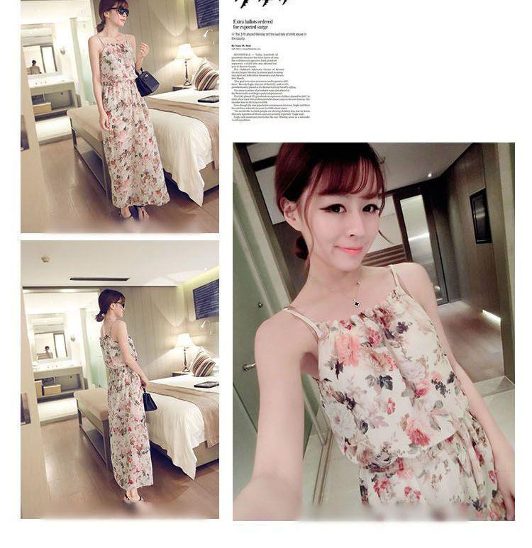 Floral Print Spaghetti Strap Chiffon Dress