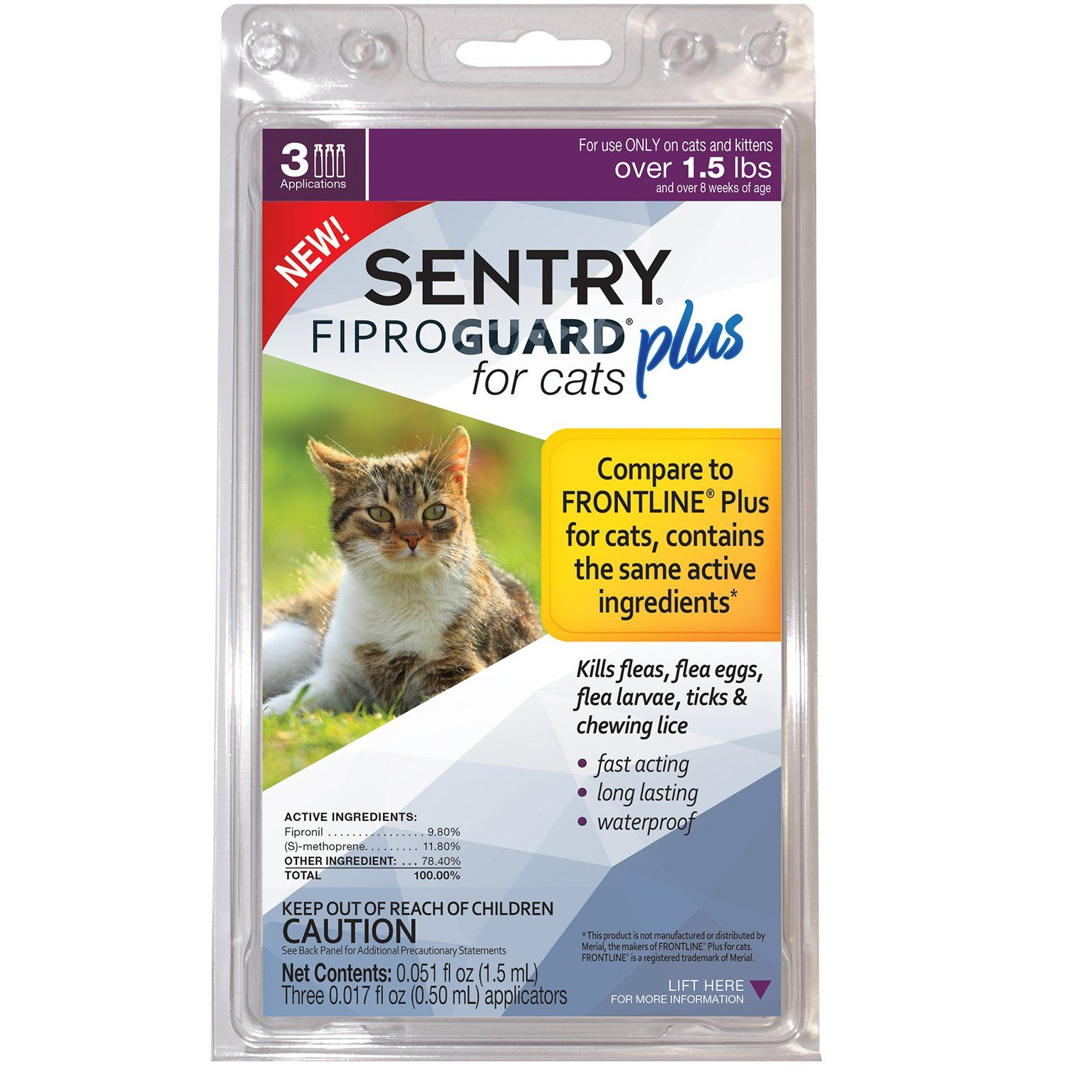 Sentry Purrscriptions Cat Kitten Squeeze On Flea Tick Control For Indoor Cats 3 Ct Tick Treatment For Cats Fleas Ticks
