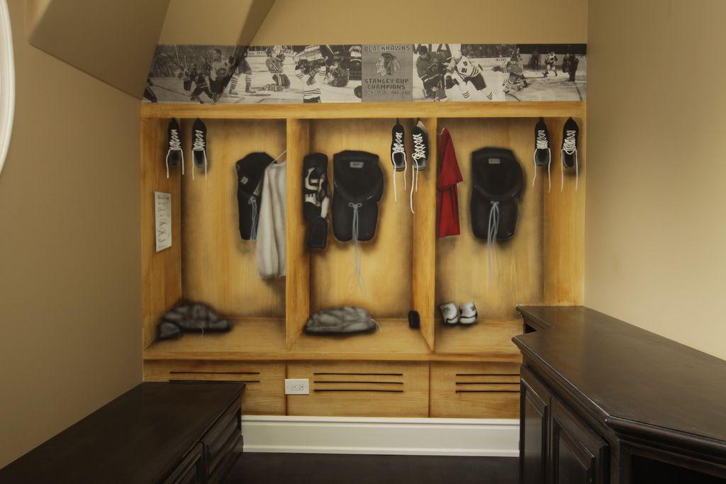 Hockey Mural Hockey Bedroom Pinterest Hockey Hockey Bedroom - Sports locker for kids room