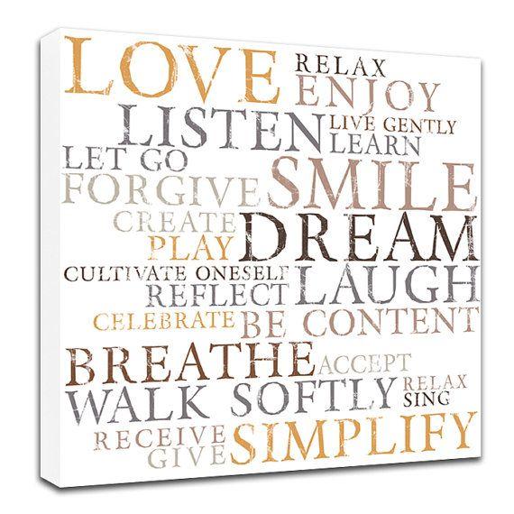 Items Similar To Love Word Art Dream Breathe  Color Choices Wall Decor Canvas Art X Canvas Stock Art On Etsy