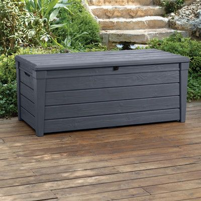 Brightwood 120 Gallon Resin Deck Box Deck Box Storage Resin