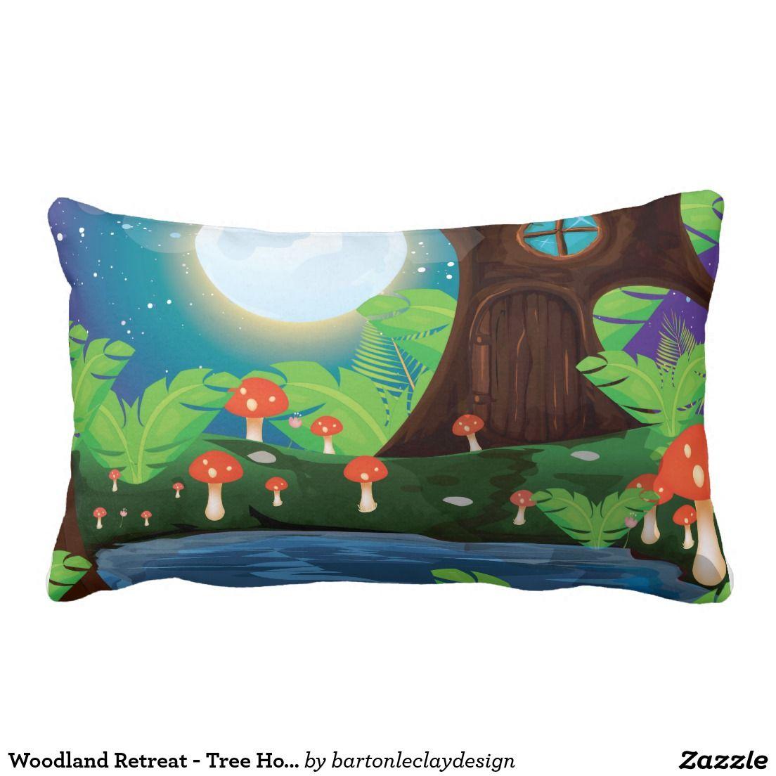 Woodland Retreat - Tree Home Throw Pillows