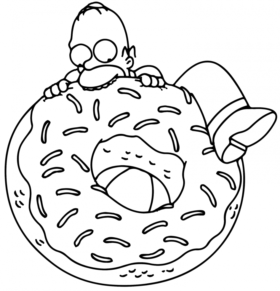 The Simpsons Coloring Pages Coloringsuite Com Donut Coloring Page Simpsons Drawings Coloring Pages