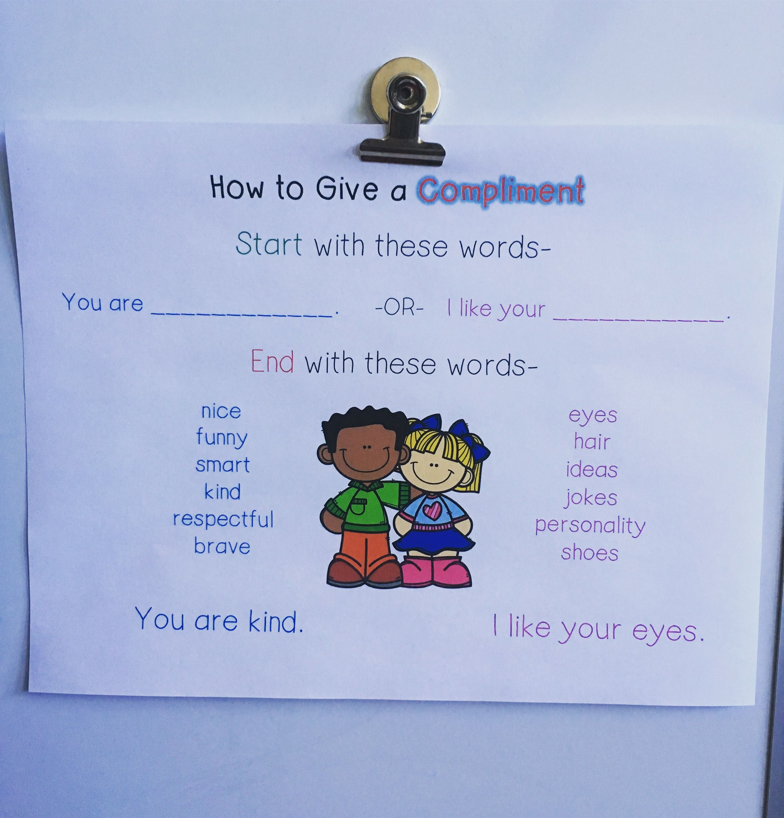 Complimenting anchor chart and compliment cards kids