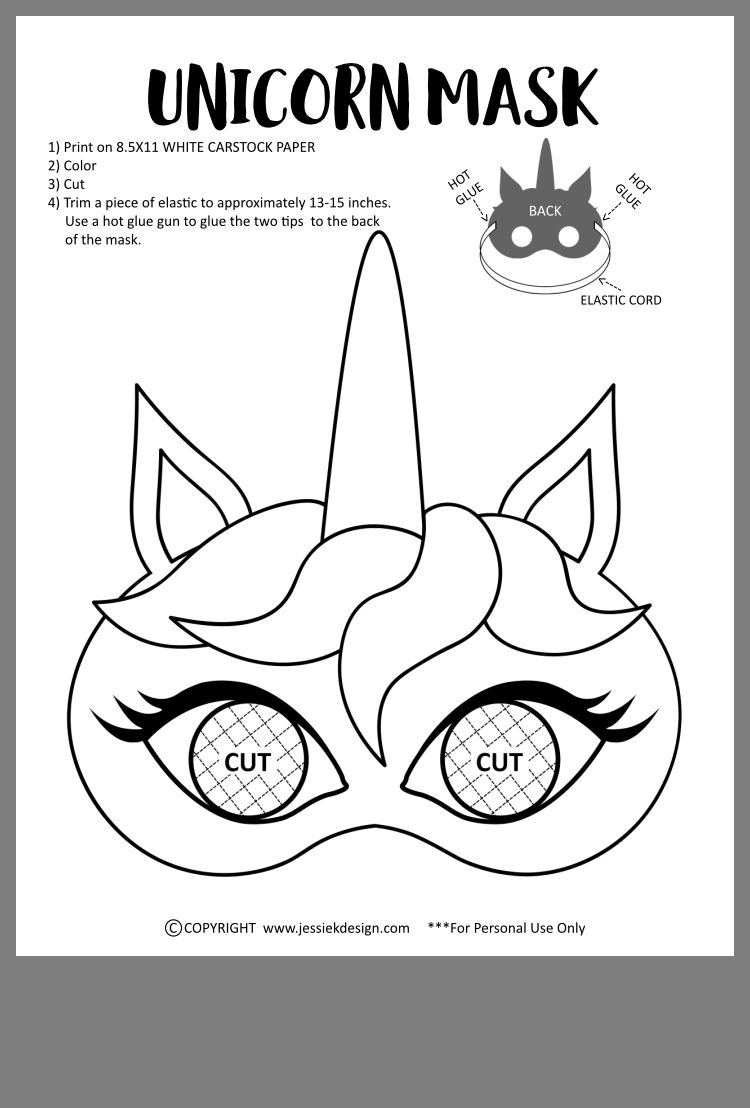 Idea by Инна Кънева on Templates | Unicorn mask, Unicorn ...