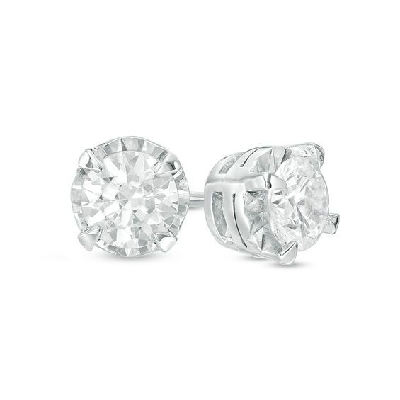 131cd262a 1 CT. T.w. Diamond Solitaire Stud Earrings in 10K White Gold in 2019 ...