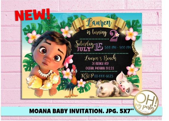 Moana Invitation Moana Birthday Invitation Moana Baby Invitation