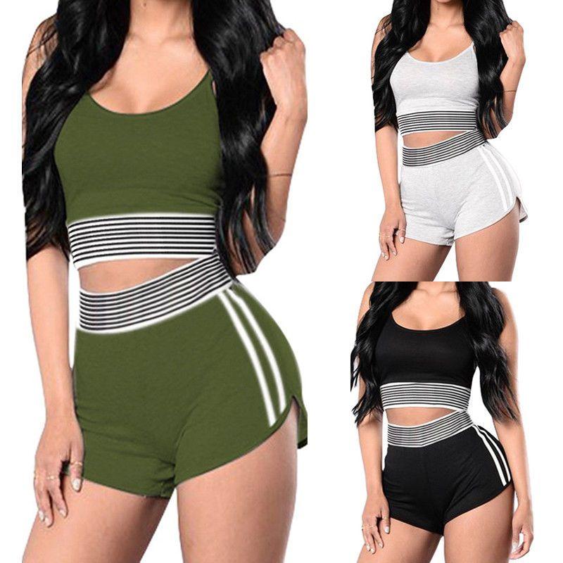 81d43dff79 2Pcs Women Girl Yoga Bra Vest Shorts Suit Set Sports Gym Fitness Fitness  Workout