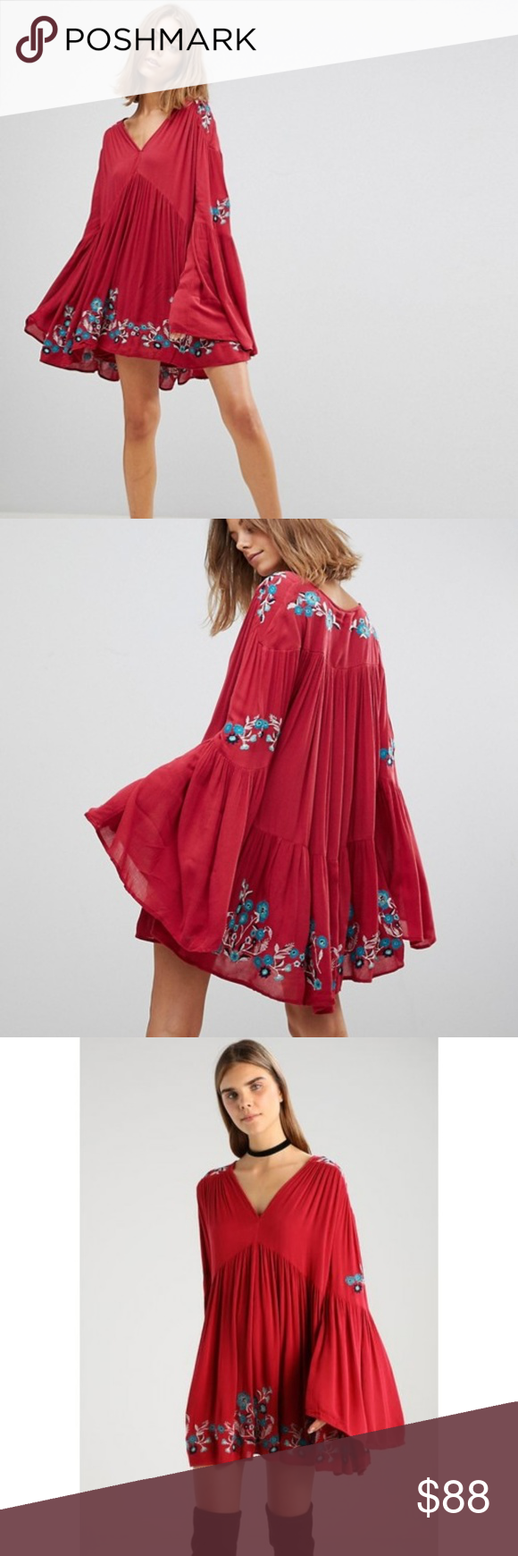 8f8b006f8aa3 *Sale* NWT Free People Te Amo Dress Long sleeve mini dress featuring  beautiful floral embroidery, retro-inspired flared sleeves and an  effortless, ...