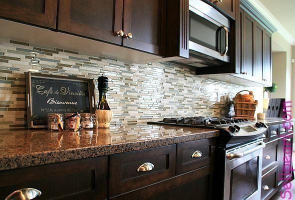 Modern Glass Tile Backsplash With Dark Cabinets Google Search