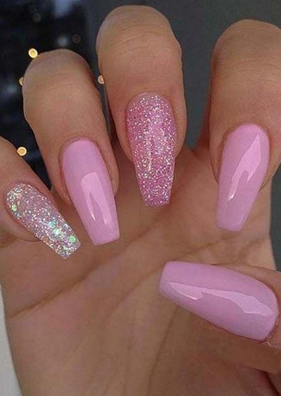 Beautiful Nails Designs For Women To Sport In Year 2020 In 2020 With Images Pink Glitter Nails Pink Acrylic Nails Cute Pink Nails