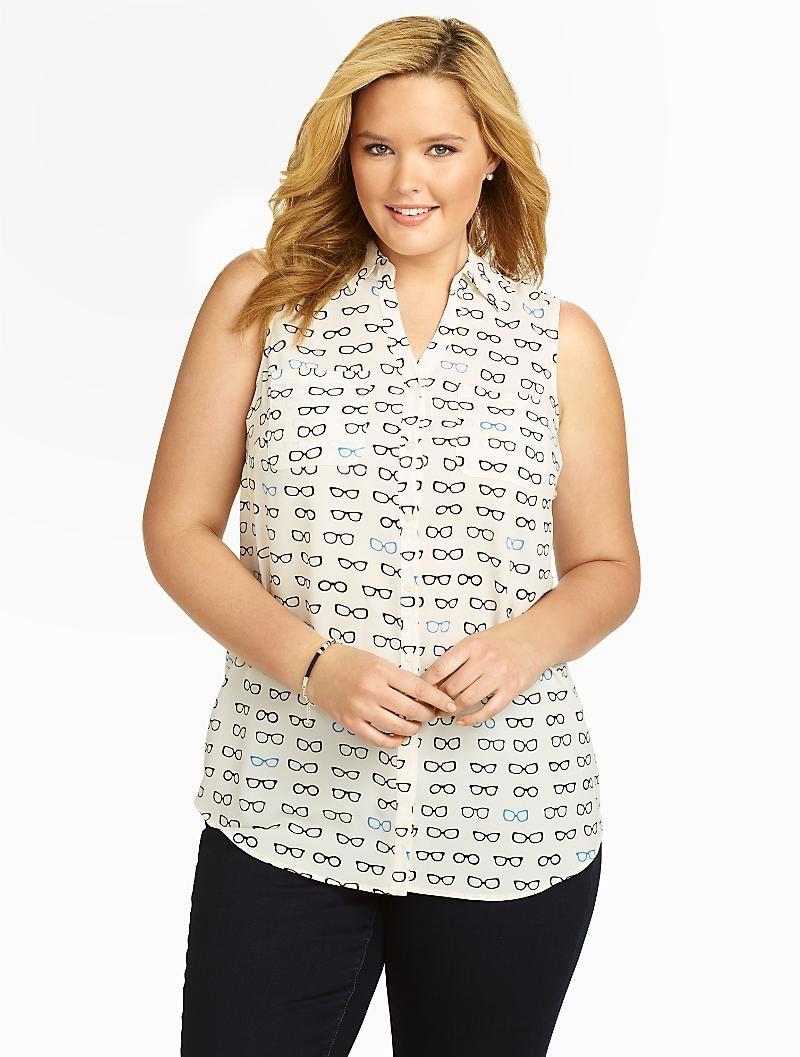 d5405f3ad30dfe Talbots - Sleeveless Nantucket Shirt - Sunglasses Print   Blouses and Shirts    Woman Petites
