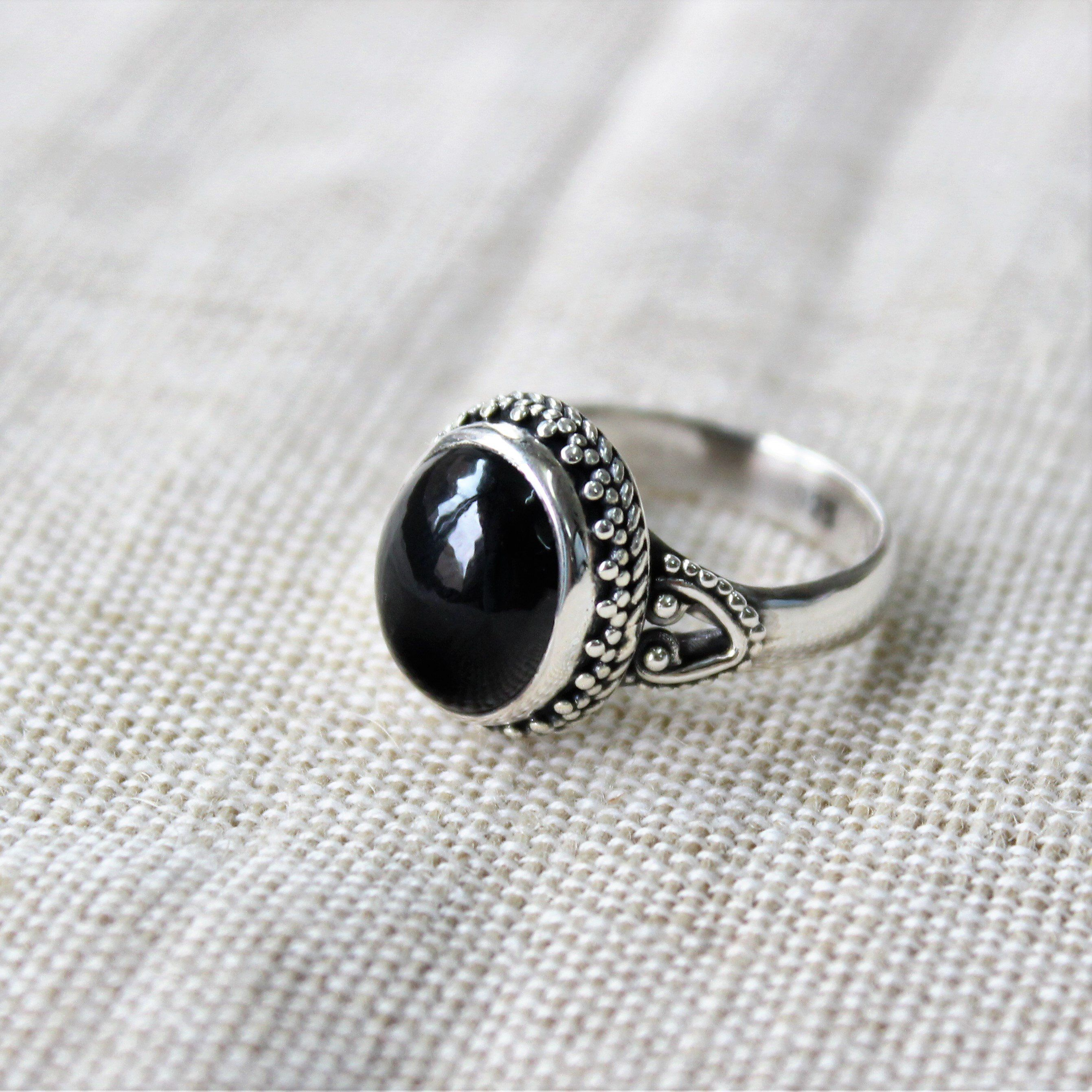 Handmade Jewelry Ethnic Wear Black Onyx Oxidized Sterling Silver Overlay Ring Size 5 US