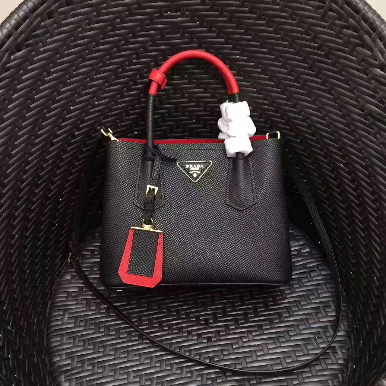 20808dcbec Prada 1BG886 Mini Two-Tone Saffiano Leather Double Bag Black Red 2017
