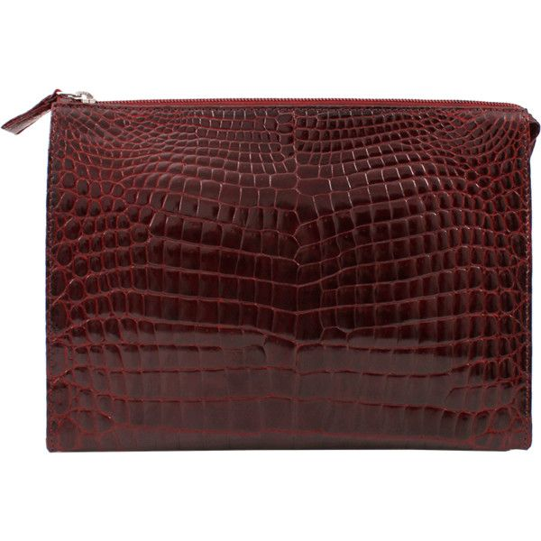 HELENE HANDBAGS Alligator Zip Clutch with Strap found on Polyvore