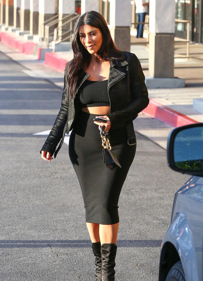 Kim Kardashian - Black Bandeau, High Waist Fitted Midi Skirt ...