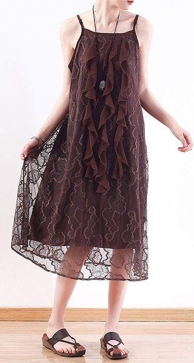 71833f46c9 Women chocolate Lace tunic top stylish pattern sleeveless A Line summer  Dresses