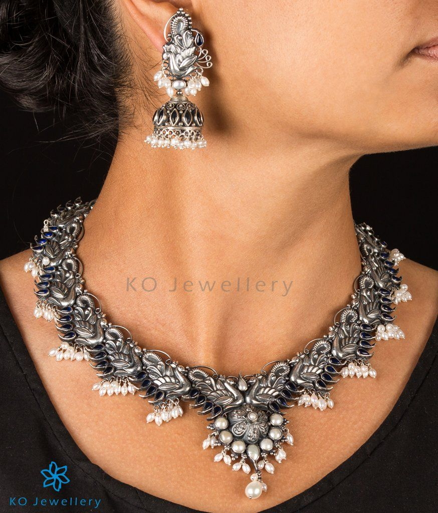 34147991f8f The Lasaka Silver Peacock Necklace-Buy Real Silver Jewellery Online - KO  Jewellery