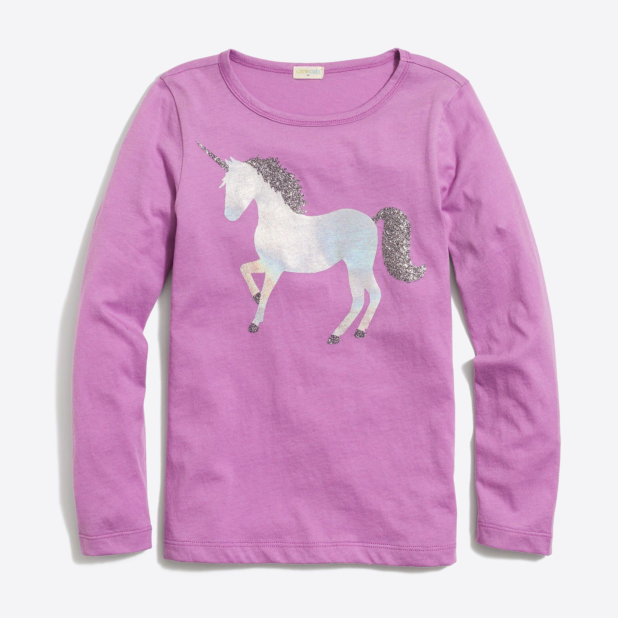 b9fbb831 J.Crew - Girls' long-sleeve unicorn keepsake T-shirt | AVR | Unicorn ...