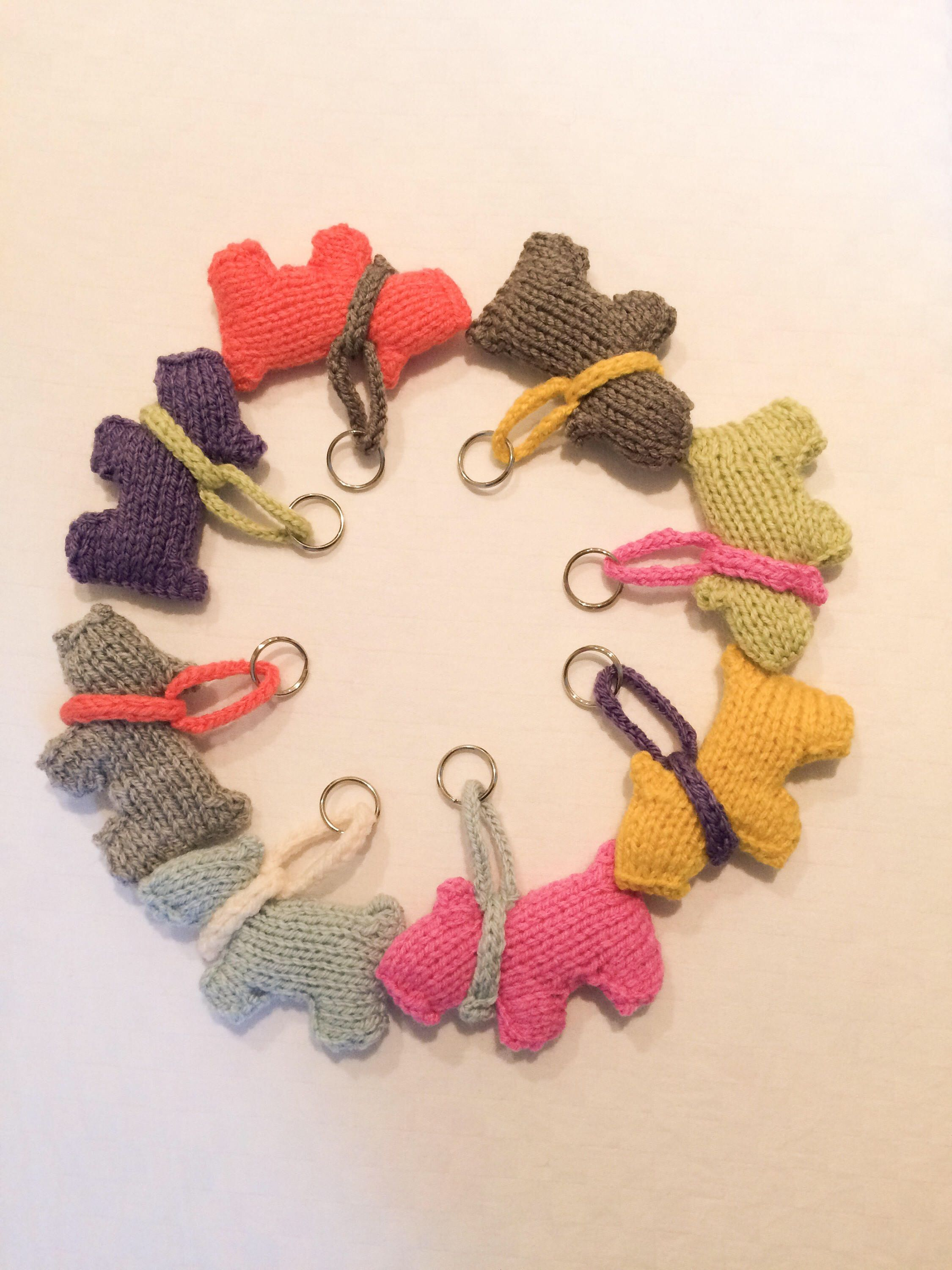 decor small chain figurine socking knitted fillers pin animal rings kids dog handmade gift ring key scottish