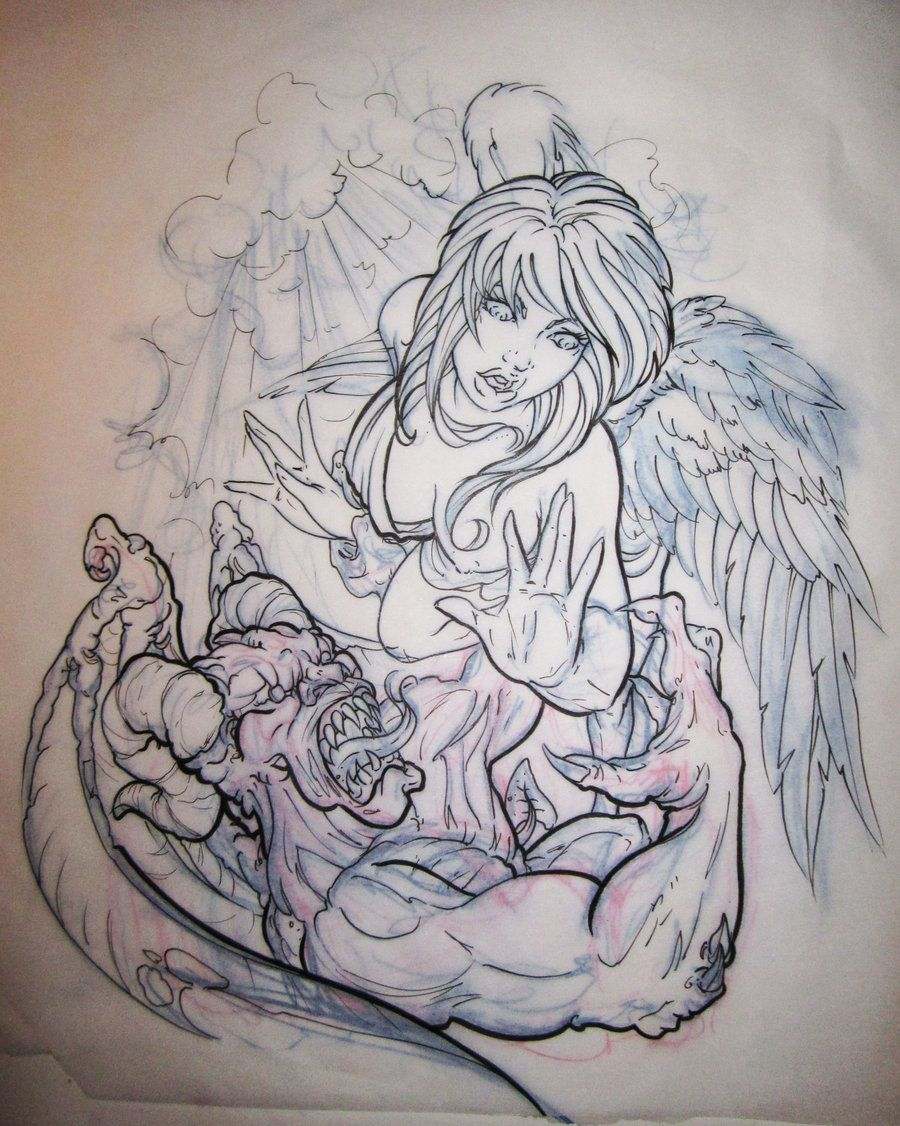 tattoo drawings of angels and demons angels vs demons by
