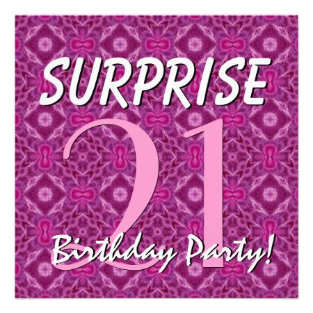 21st SURPRISE Birthday Magenta and Purple for Her Custom Invites