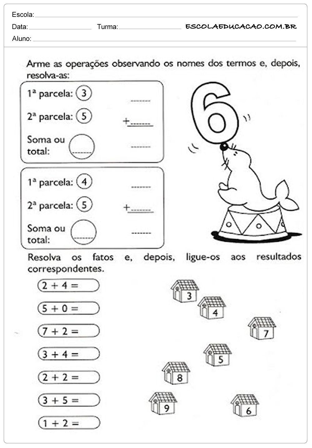 Atividades de Matemática 1º ano - Somando com 6 ...