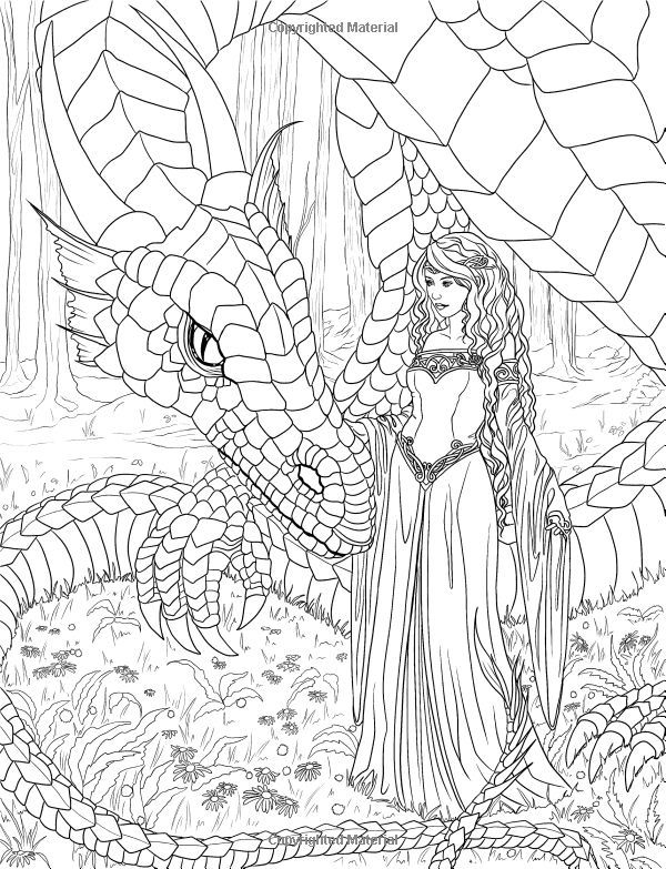 mythical mystical legend elf elves dragon dragons fairy fae wings fairies mermaids mermaid siren sword sorcery magic witch wizard coloring pages adult - Coloring Pages Dragons Fairies