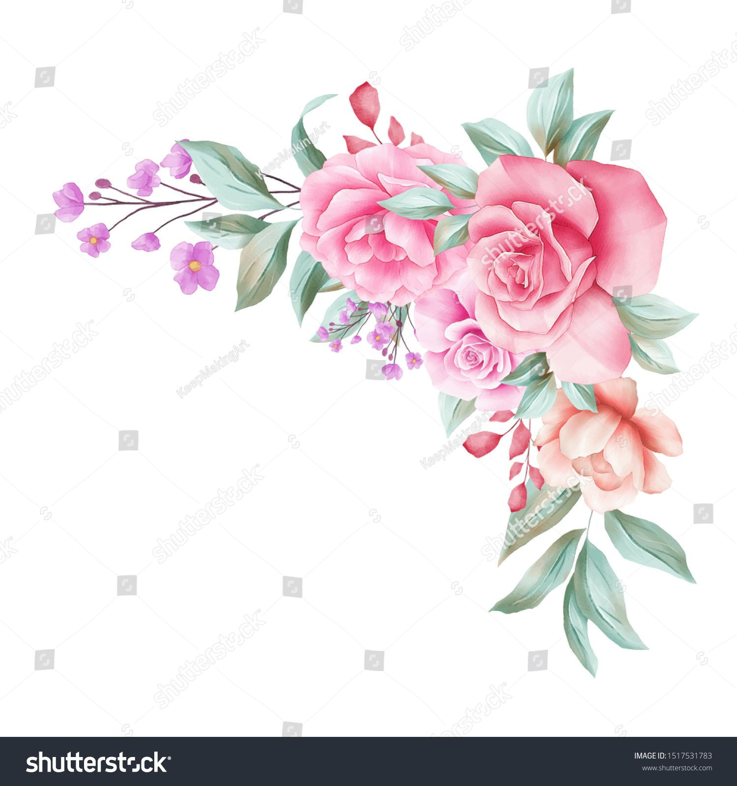 Watercolor Floral Border Decoration For Wedding Invitation Card