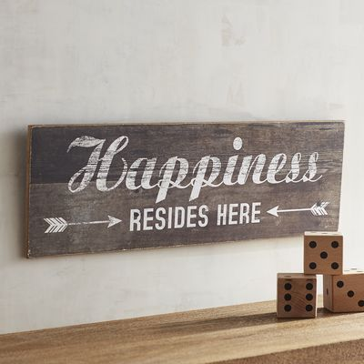 No matter what your address, this is your happy place. Our rustic wood sign is perfect for entryways, kitchens and anywhere that good times happen. A Pier 1 exclusive.