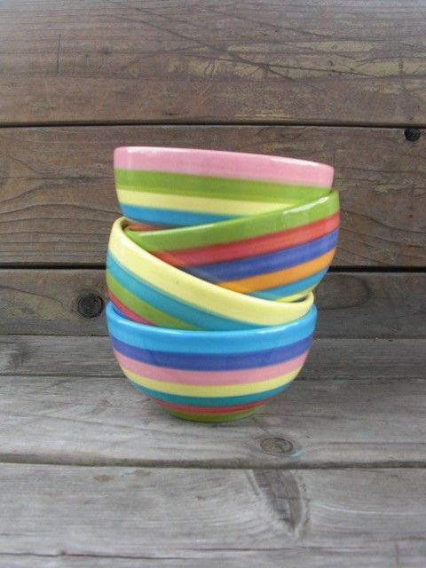 Set of Four Rainbow Candy Colored Striped Ceramic Ice by InAGlaze, $50.00