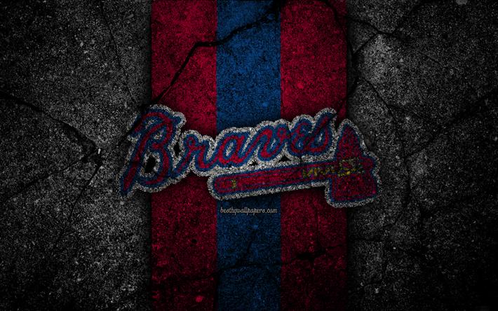 Download wallpapers 4k, Atlanta Braves, logo, MLB