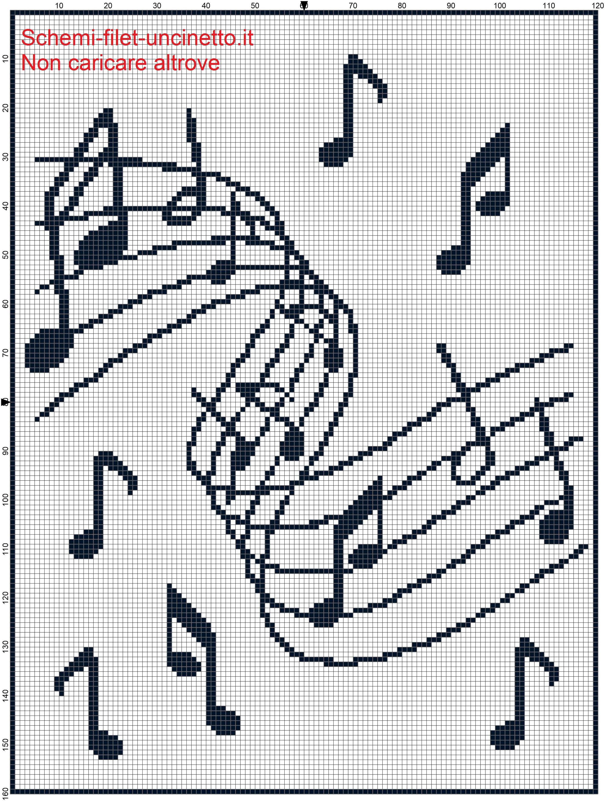 Copertina filet uncinetto note musicali   Filet crochet   Pinterest ...