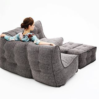 The Satellite Twin Sofa Is A Premium Outdoor Bean Bag With Uber Style And Size Padded Thick Quilting Contemporary Waterproof Canvas Woven Fabric
