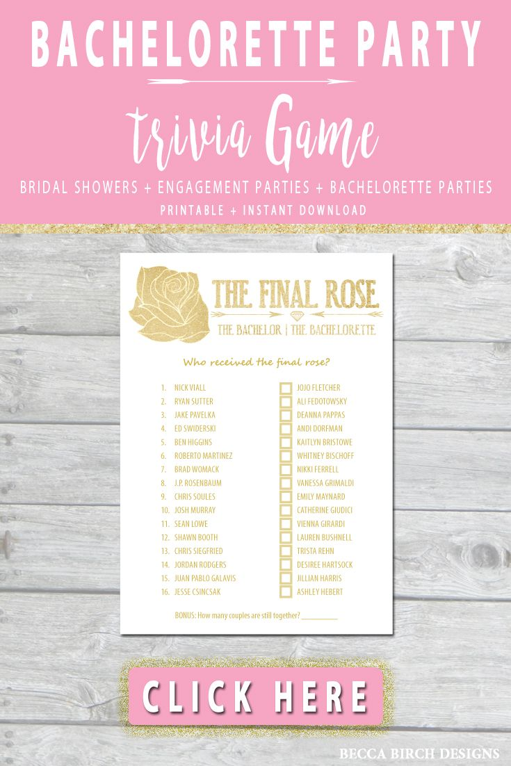 the bachelor and bachelorette trivia game play at your next bachelorette party bridal shower or engagement party