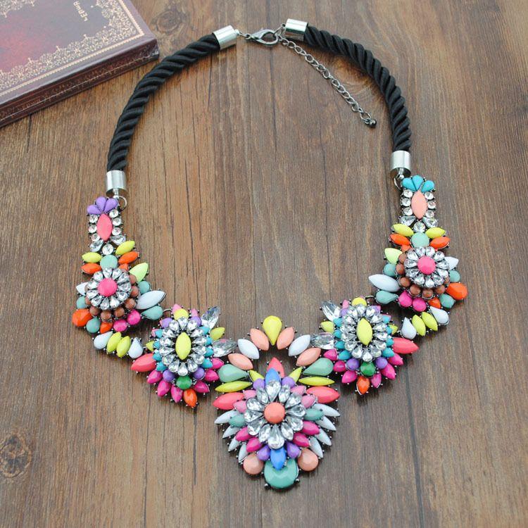 Aliexpress.com : Buy 2014 New Arrival Luxury  multicolor Fashion Necklace Wholesale Shourouk Chain Chunky Choker Statement Necklace & Pendan...