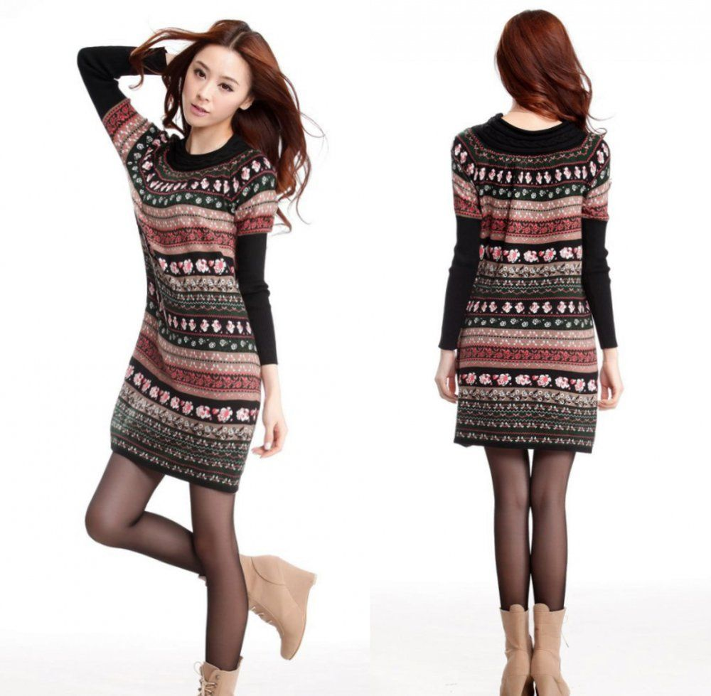 Find More Dresses Information about Womens Vintage Bold Pattern ...