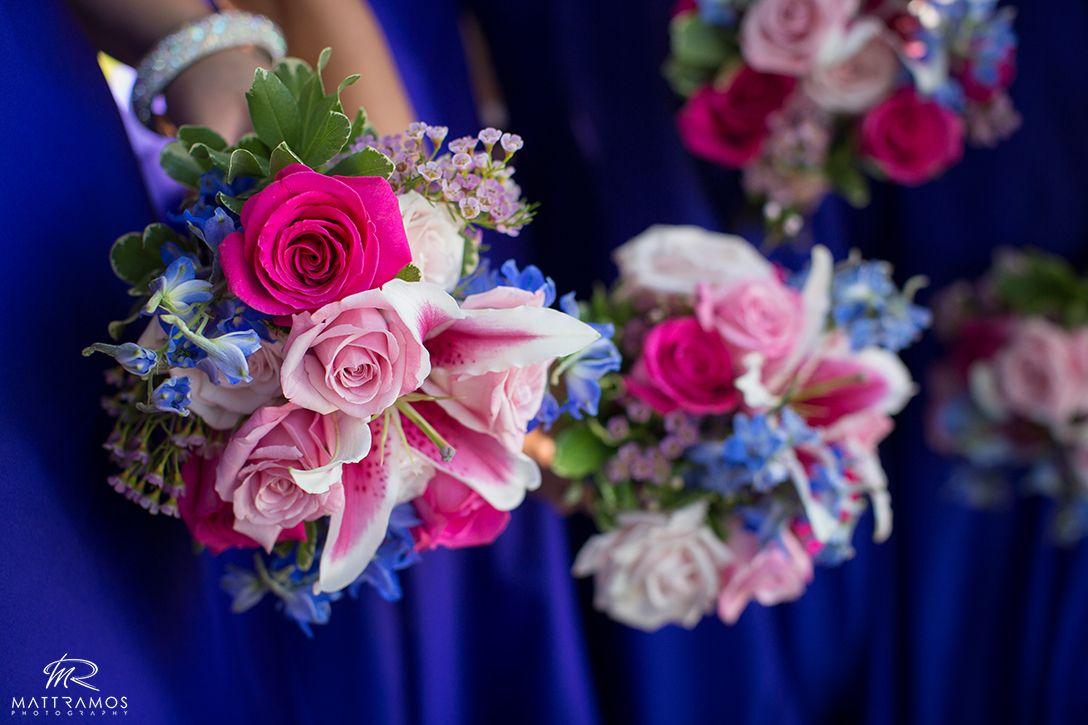 Pink and blue wedding flowers © Matt Ramos Photography ...